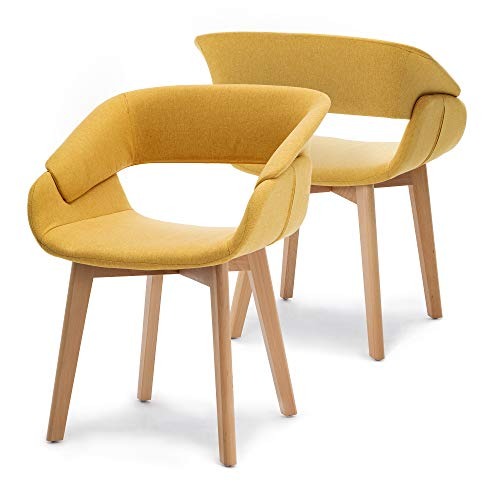 Ivinta Modern Living Dining Room Accent Arm Chairs Set of 2 Linen Fabric Mid-Century Upholstered Side Seat Club Guest with Solid Wood Legs (Yellow)