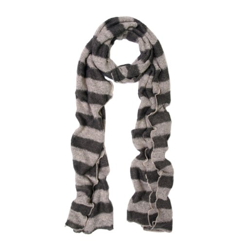 Premium Long Soft Knit Striped Scarf, Taupe