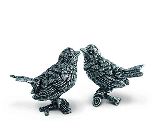 (Vagabond House Pewter Song Birds Salt & Pepper Set 3