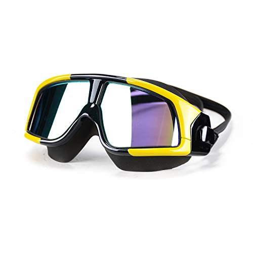 Premium Polarized Big Large Frame Swim Goggles, Swimming Goggles Anti Fog No Leaking with UV Protection and Clear Lens Wide-Vision for Men Women Adult Youth with Free Case,Nose Clip and Ear Plugs ()