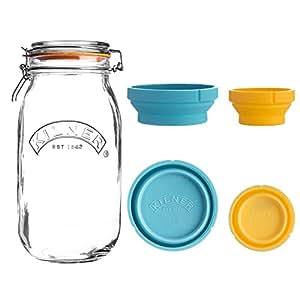 Amazon.com: Kilner medir y almacenar Set de frasco, 68-fluid ...