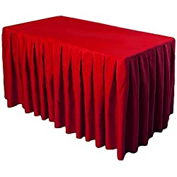 Doolova 6FT RED Wholesale Polyester Table Skirt For Wedding Banquet Restaurant