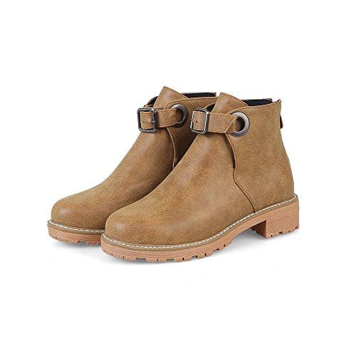 Low Yellow AgooLar PU Boots Round Toe Heels Solid Zipper Women's gqvSZ
