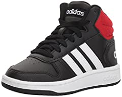 These kids' basketball-inspired shoes have a synthetic nubuck upper and a textile lining to provide durable comfort for active feet. 3-Stripes and a rubber cupsole give the shoes classic hoops style.