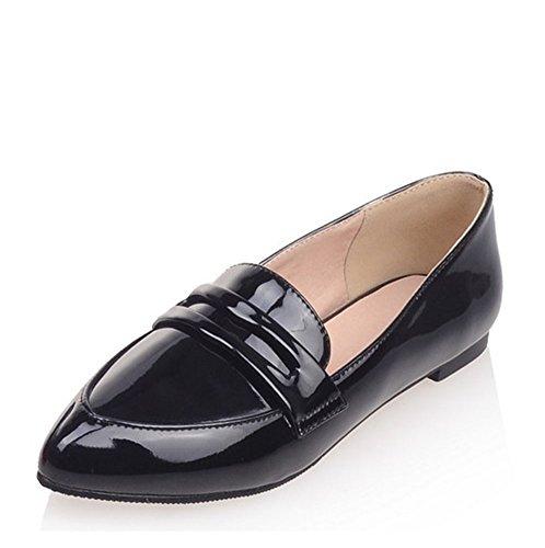 Easemax Mujeres Con Estilo Bajo Top Patente Puntiagudo Resbalón En Los Zapatos Planos Negro