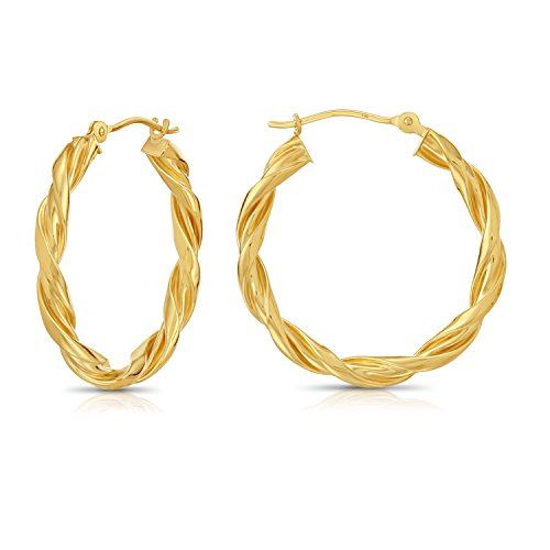 14k Yellow Gold Twisted Hoop Earrings, 1''