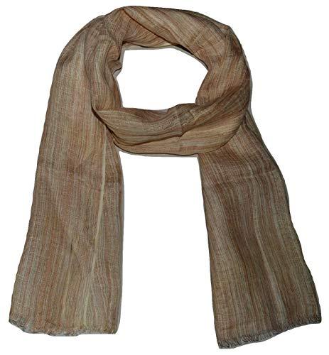(100% Pure Linen Scarf, IKAT Weave in Melange Stripes, Linen Scarf. (Beige))