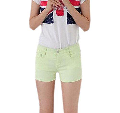 DELEY Mujeres Sólido Estiramiento Hot Pants Juniors flacos Fit Denim Jeans Pantalones Cortos Verde Claro