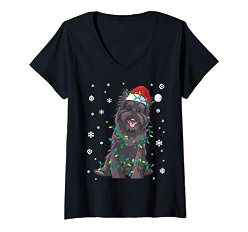 Womens Cairn Terrier Wrapped In Christmas Lights Dog V-Neck T-Shirt (Cairns Christmas In Lights)