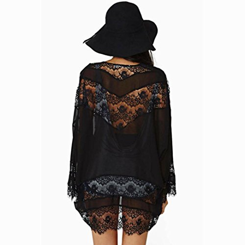 Soie Cardigan ❤️cardigan up Femmes De Tops Cover Shawl Manteau Mousseline Amlaiworld En Chemisier Hollow Noir Kimono Dentelle x7dfC01qw