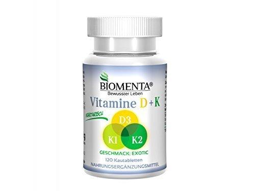 Biomenta® Vitamin D + K 120 Tabl. VEGETARISCH HOCHDOSIERT (Vitamin K1 + Vitamin K2 - Vitamin D3)
