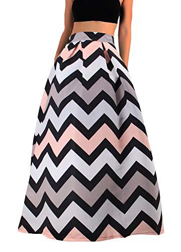 (Novia's Choice Women African Floral Print Pleated High Waist Maxi Casual A-Line Skirt(Wavy Pink Stripe XL))
