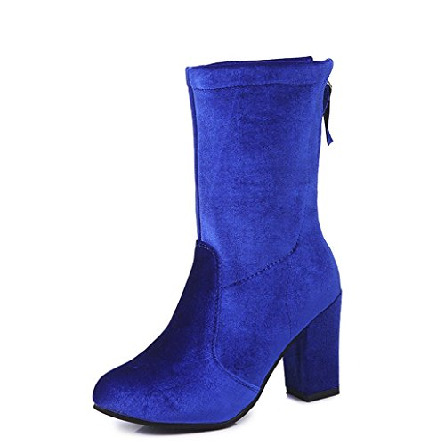Colorful TM Women Buckle Ladies Winter Warm Boots Ankle Boots High Heels Martin Shoes Blue f9psij