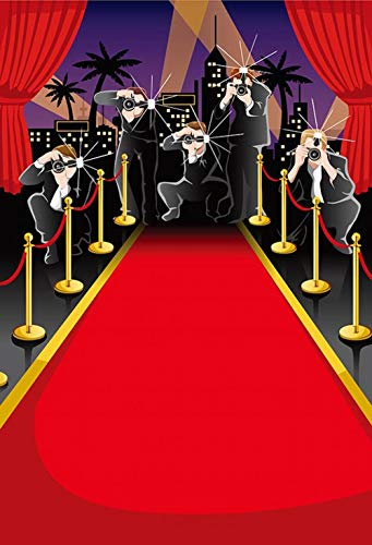 ERIC 5x7ft Hollywood VIP Red Carpet Scene Setters Backdrop Insta-Mural Party Paparazzi Photography Props Baby Shower Party Decor Photo Portrait Studio