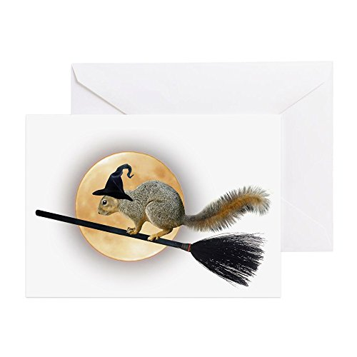 CafePress Witch Squirrel Greeting Card, Note Card, Birthday Card, Blank Inside Glossy ()