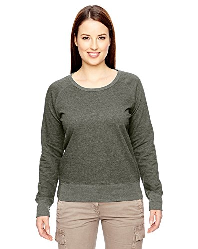 econscious Womens 7 Oz. Organic/Recycled Heathered Fleece Raglan Pullover (EC4505)- Military Green,Small