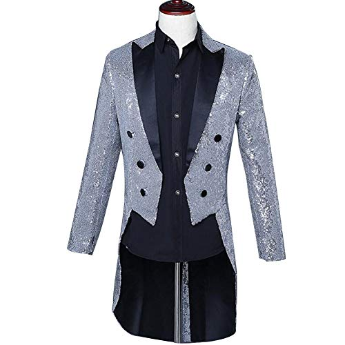 - Mens Sequins Tailcoat Swallowtail Dinner Party Dress Blazer Suit Jacket Performance Costume (Silver, XXL)