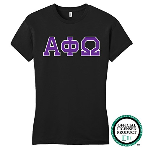 ALPHA PHI OMEGA | Purple Letters - Licensed Fitted Ladies' T-shirt-Ladies,