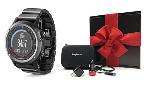 Garmin fenix 3 Sapphire (Metal) GIFT BOX Bundle | Includes Multi-Sport GPS Fitness Watch, PlayBetter USB Car & Wall Adapter, Charging Cable & GPS Carry Case | Black Gift Box, Red Bow & Crinkle Paper by PlayBetter