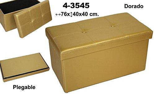 DonRegaloWeb–Pouf pieghevole in ecopelle rettangolare in color oro. Suska Regalos
