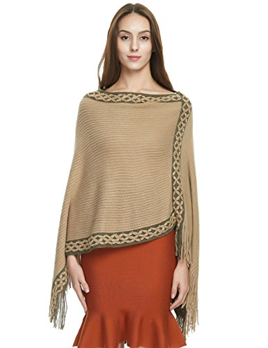 Ferand Women's Crisscross Embroidered Poncho Sweater Stylish Fringe Cape Shawl, Khaki ()