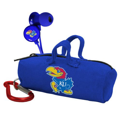 AudioSpice NCAA Kansas Jayhawks Scorch Earbuds with Bud (University Bass Bag)