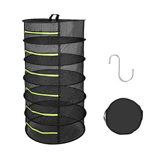 Eletorot Drying Rack Mesh Dry Net 6 Layer for Storage Enclosure Individual Green Zipper Opening Collapsible Pouch 2ft