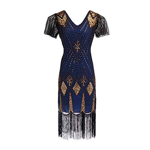 BODOAO Women's Sequined Dress 1920s Inspired Sequins Beads Long Tassel Inserts Dress Blue (Peter Pan Sequined Collar)