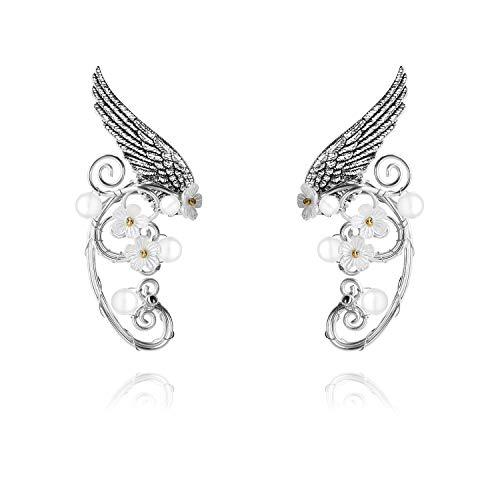 Yolmina Elf Ear Cuffs, Handmade Clip-on Earrings - Pearl Wing Tassel Filigree Elven Earrings for Women - Fantasy Fairy Halloween Costume, Cosplay, Wedding, Handcraft (4 styles) ()