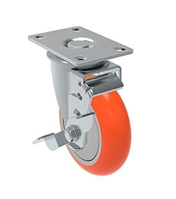 "Schioppa GLA 412 UPE SL L12 Series 4"" x 1-1/4"" Diameter Swivel Caster with Wheel Lock Brake, Non-Marking Polyurethane Precision Ball Bearing Wheel, Plate 3-3/4"" x 2-1/2"" (Bolt Holes 3"" x 1-3/4""), 275 lb"