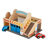 Melissa & Doug Service Station Parking Garage (Vehicles, Functional Elevator, Easy to Carry, 6 Pieces, Great Gift for Girls and Boys - Best for 3, 4, 5, and 6 Year Olds)