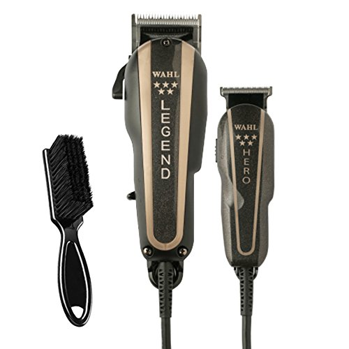 Price comparison product image Wahl Professional 5-Star Barber Combo – Features a New Look 5-Star Legend Clipper and Hero T-Blade Trimmer – Powerful V9000 Motor Clipper and Rotary Motor Barber Trimmer – BeauWis Blade Brush Included