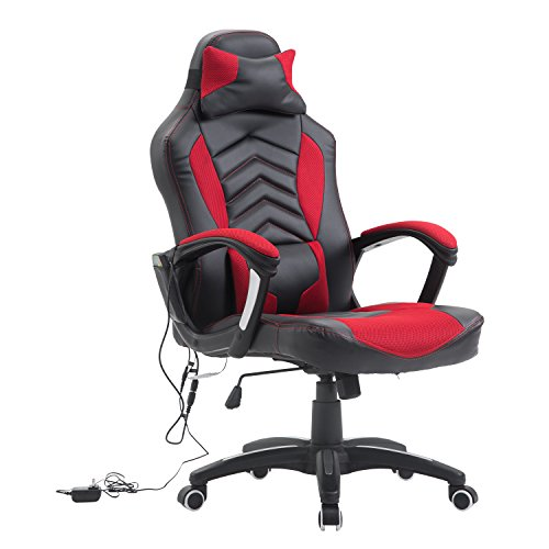 HomCom Modern Ergonomic PU Leather Heated Vibrating Massage Office Chair - Red (Ergonomic Massage Chair)