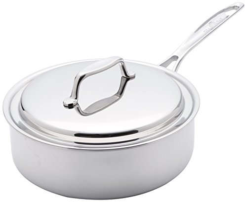 USA Pan 1505CW-1 Cookware 5-Ply Stainless Steel 8 Inch Sauce Pan with Cover, Oven and Dishwasher Safe, Made in the USA, 8-Inch, Silver