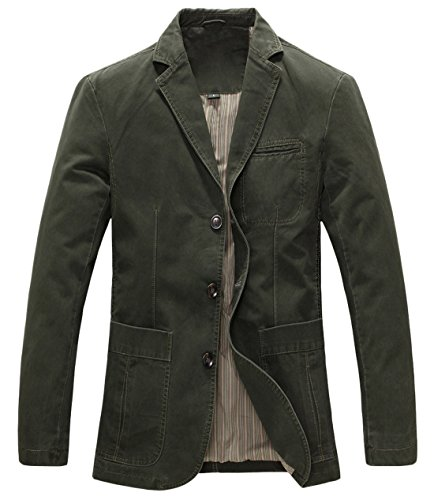 chouyatou Men's Casual Three-Button Stripe Lined Cotton Twill Suit Jacket (Medium, Army Green) ()