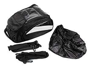 TMS Black Motorcycle Sport Bike Riding Magnetic Gas Tank Bag Backpack w/ Rain Cover