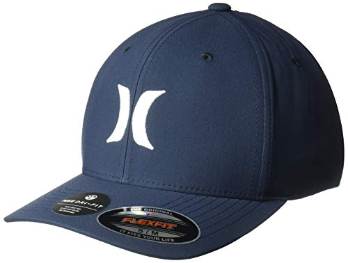 Hurley Men's Dri-Fit One & Only Flexfit Baseball Cap, Obsidian/White S-M Blue One Fit Hat