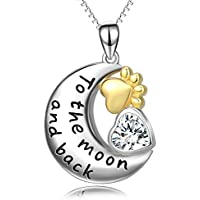 Sterling Silver Pendant Necklaces - Women 18k Gold Plated Cubic Zirconia Jewelry - Heart Paw Moon