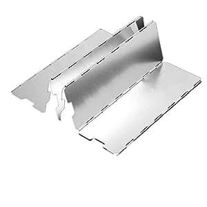okpow 10unidades plegable aluminio protector de viento Parabrisas para puntos de fuego de BBQ exterior de camping