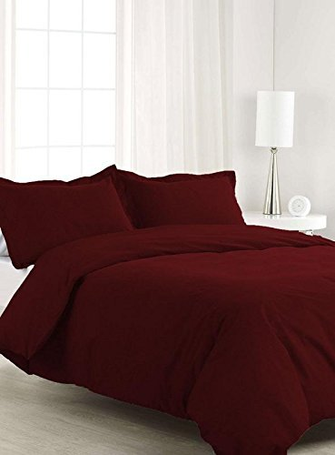 Radhya Linen 3-Piece Duvet Cover Set 100% Egyptian Cotton 700 TC Ultra Soft and Easy Care, Simple Style Bedding Set Wine Solid, California King Zipper Closure Duvet Cover with 2 Pillow Sham