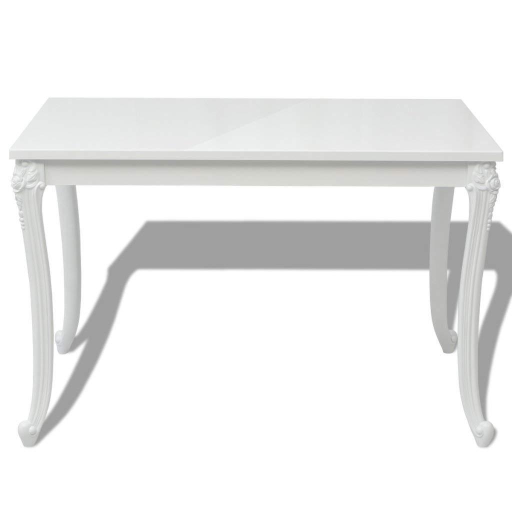 """Festnight High Gloss Rectangular Dining Table for Home Decor, 47.2""""x 27.6""""x 30"""", White"""