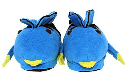 50+ Stilar - Premium Fullt Fot Happy Feet Mens Och Kvinna Djur Tofflor Blå Tang - Nytt