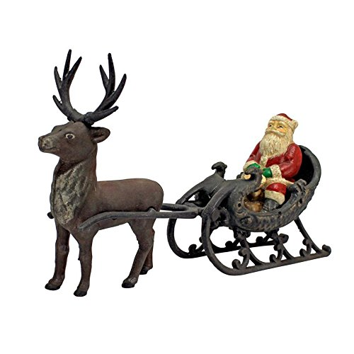 Christmas Decorations - Santa Claus on Sleigh with Christmas Reindeer Die Cast Iron Holiday Decor Statue - Santa Sleigh Reindeer