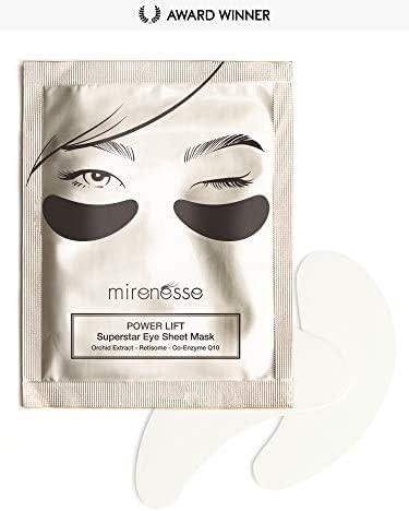 Mirenesse Power Lift Eye Sheet Mask with Retinol CoQ10 & Orchid Extract, Deep Hydration, Lifts & Firms, Coenzyme Q10 & Retisome, Vegan & Toxin Free, 1 Pair