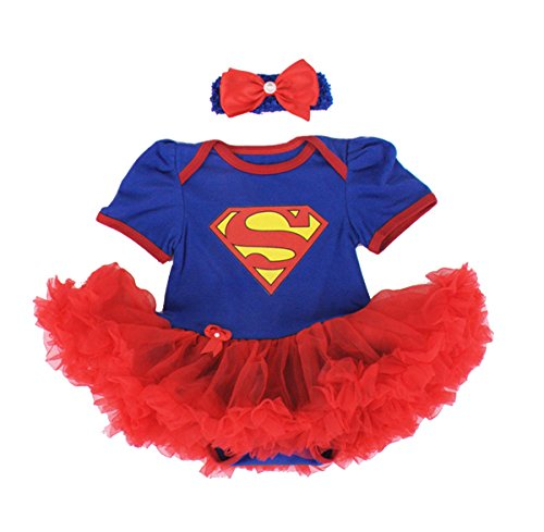 Baby Cotton Summer Toddler Romper Bodysuit with Headband 0-3 Months Blue Superman ()