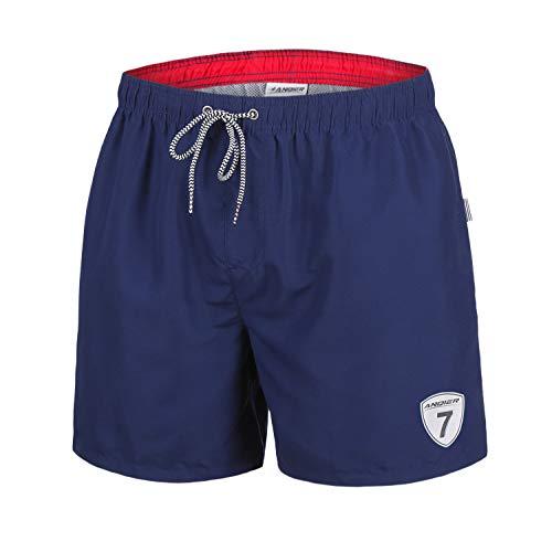c2b166f7f2 anqier Mens Swim Trunks Quick Dry Beachwear with Mesh Lining Board Shorts  Swim Shorts (Navy