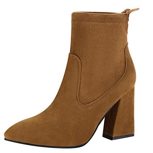 4f79d979cd9 Femme Femmes Lacets Marron Bottes Hauts 43 taille Neigenbsp chaussures À  Carrés De Talons Pour Kaiki ...