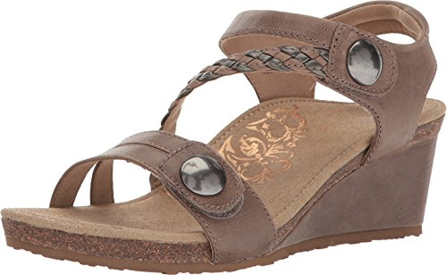 Aetrex Womens Naya Adjustable Wedge, Stone, 40 EU