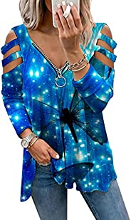 Oversized Sweatshirts for Women, Zip Up Pullover Casual 3/4 Sleeve Shirts Plus Size Graphic Hoodies Fall Cloth