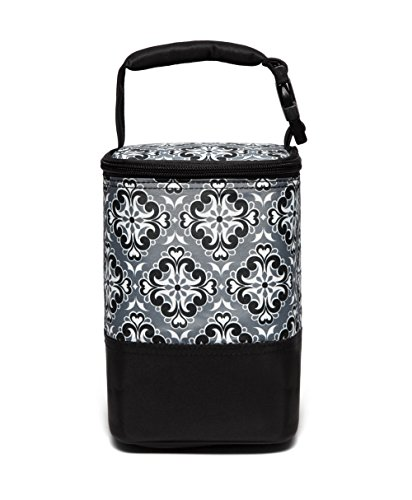 - LCY Baby Feeding Insulated Bottle Bag Cooler Bag Keep Warm or Cool With Hanging Strap Fit Up 4 Bottles--Flowers Black